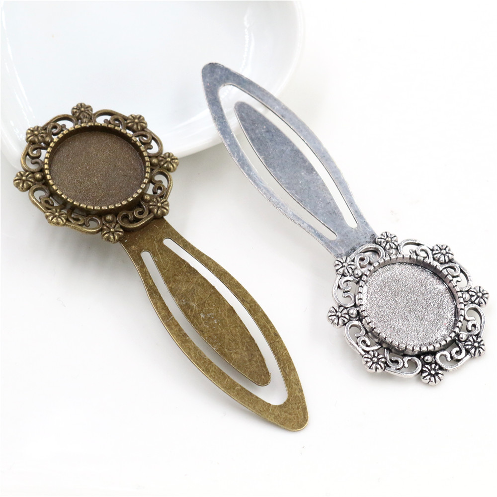 New Fashion 2pcs 18mm Inner Size Antique Bronze Silver Plated Vintage Style Handmade Bookmark Cabochon Base  Cameo Setting