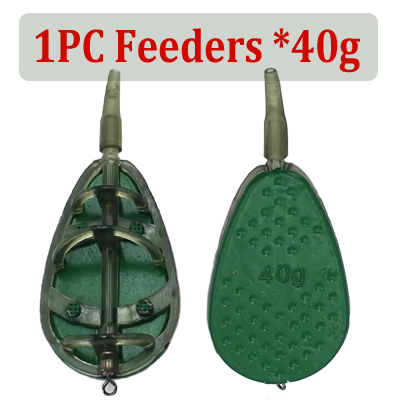 BODYART 10 Pieces Fishing Inline Flat Method Feeders with Quick Release Mould for Carp Fishing Tackle Tool Bait Accessories 15g,20g,25g,30g,35g,40g,50g,60g