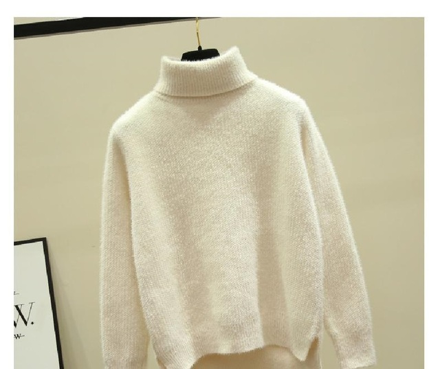 Autumn Winter Sweater Women Knitted Fashion Loose Casual Thick Sweaters Solid Color Long Sleeve Plus Size Warm Ladies Pullover 1