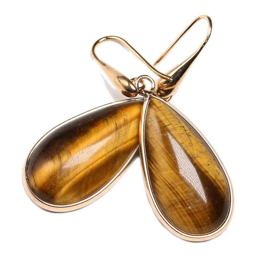 טבעי עין נמר אבן זרוק עגילים לנשים בוהמיה עגיל Vintage עתיק זהב מצופה תכשיטי Dropshipping