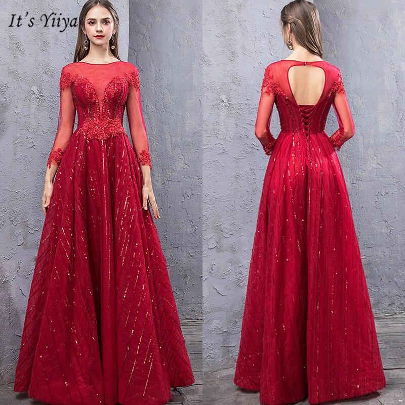 It's Yiiya Evening Dress Illusion Appliques Women Party Dresses O-Neck Three Quarter A-Line Floor-Length  Robe De Soiree V149