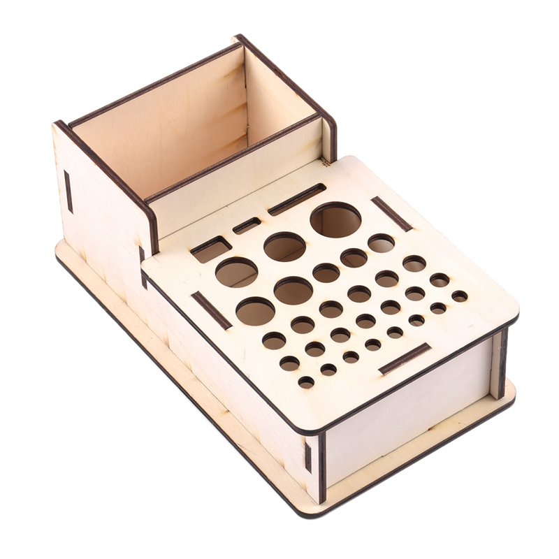 Wooden Storage Box Studio Modeling Tools Paint Brushes Holder Rack Display Stand Organizer Art Supplies Accessories