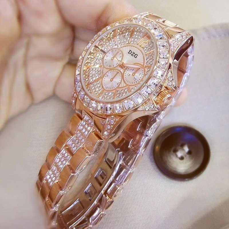 Delle Donne di modo con la Vigilanza Del Diamante Delle Signore Top di Lusso di Marca Delle Signore Casual del Braccialetto delle Donne di Cristallo Orologi Relogio Feminino