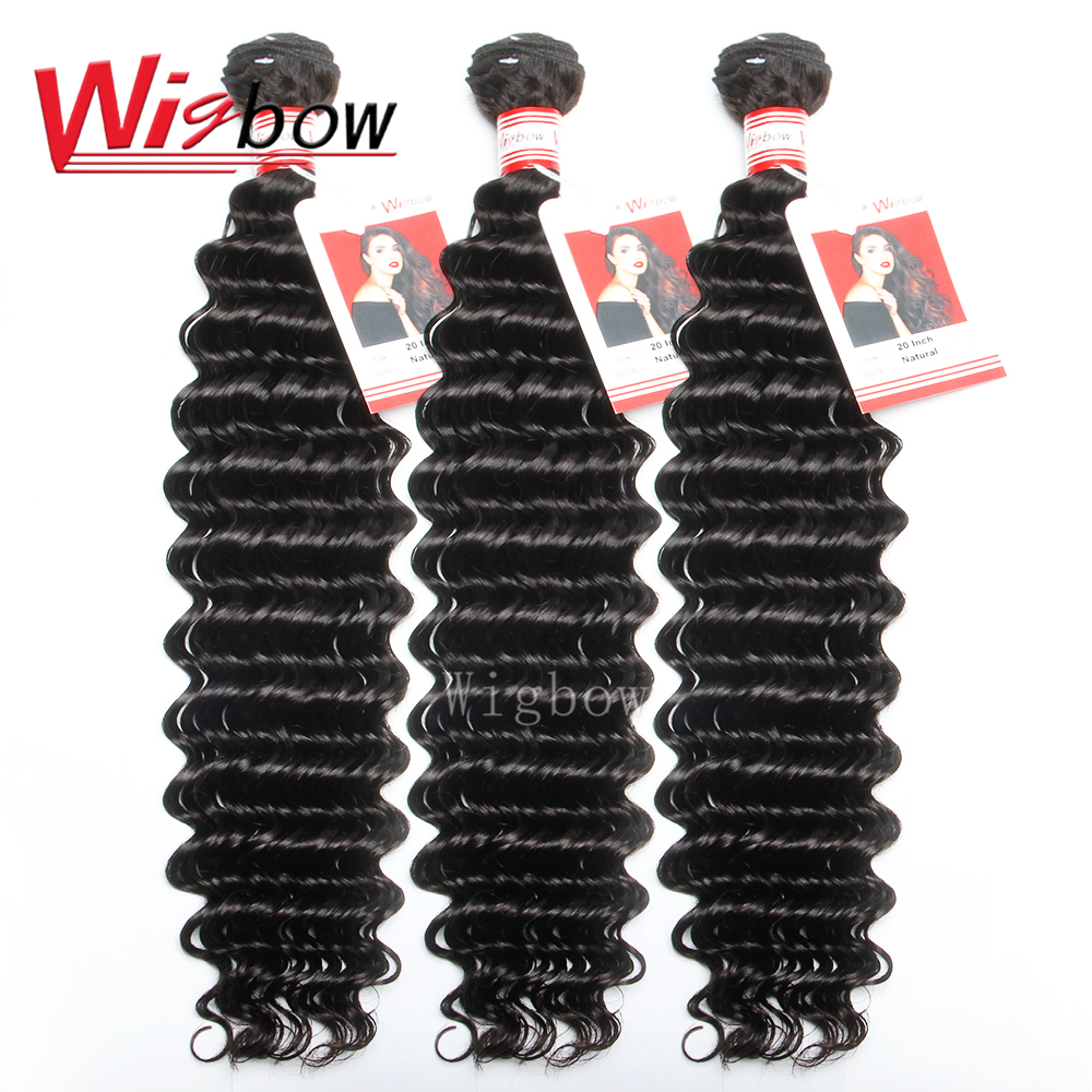 Wigbow OneCut Hair 28 30 Inch Brazilian Deep Wave Human Hair Bundles 1/3/4 Bundles Deal 100% Remy Human Hair Extensions