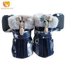 Обувь для собак осень зима джинсовые зимние сапоги повседневная обувь для собаки питомец нескользящая обувь плюшевый чихуахуа звезда узор 2 цвета