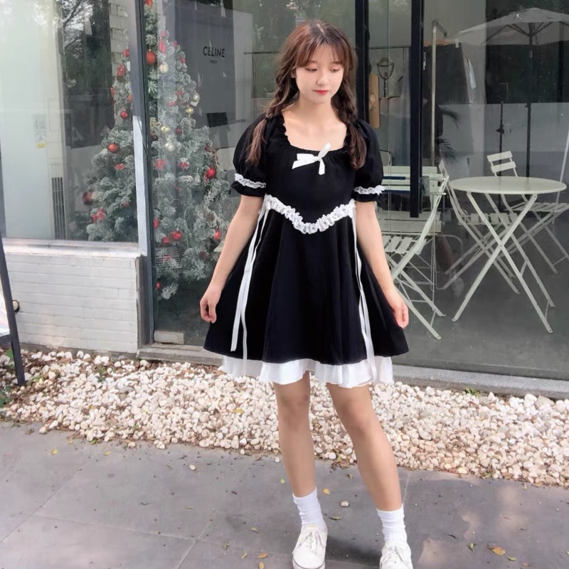 Y2K Kawaii Short Sleeve Black Dress Lolita Clothes Cosplay Maid Sweet Girl Retro Japanese Preppy Bandage Dresses Gothic Harajuku