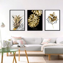 Golden Leaf Pineapple Canvas Painting English Letter Waterproof Posters Wall Pictures For Living Room Cuadros Decoracion Salon