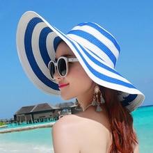 Hat Summer Brim Wide Beach Women Striped Tour-Hat Vacation Folding 890368 Black White
