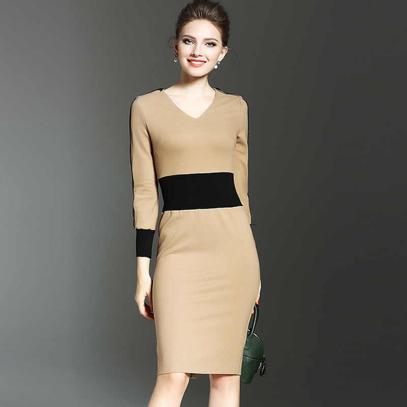 סתיו 2020 חורף שמלת נשים Bodycon שמלה אלגנטי Midi ארוך שרוול שמלה סקסי גבירותיי שמלת שמלת שמלת שמלת המפלגה