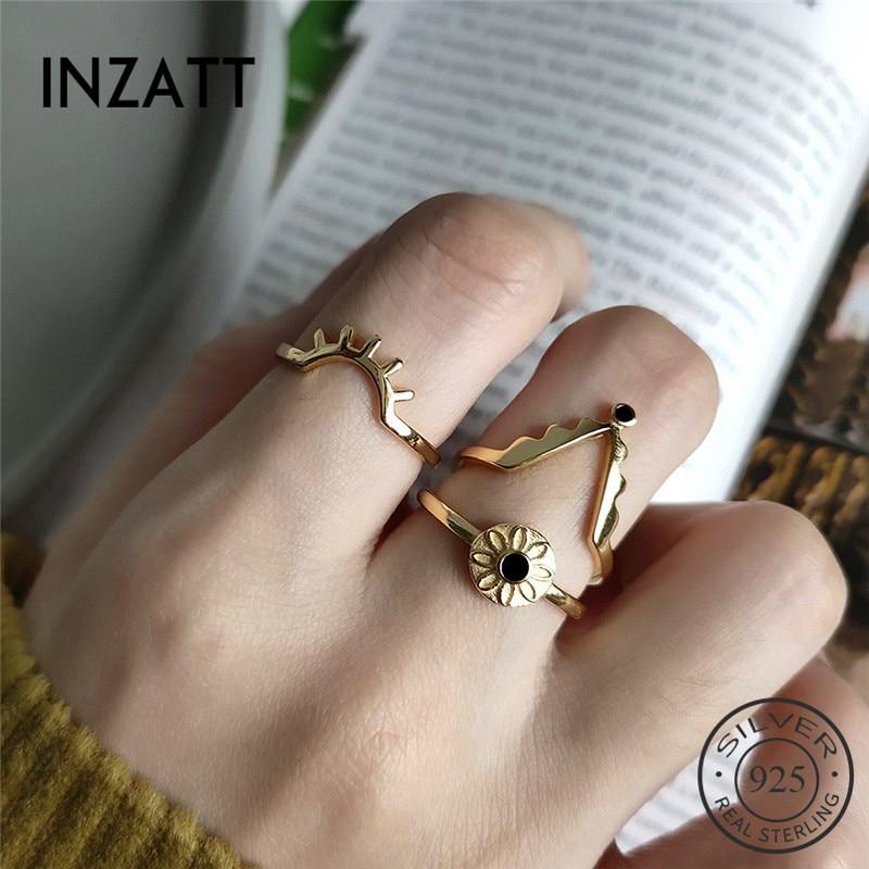 INZATT Real 925 Sterling Silver Zircon V Geometric Ring For Fashion Women Trendy Fine Jewelry Minimalist Accessories 2019 Gift