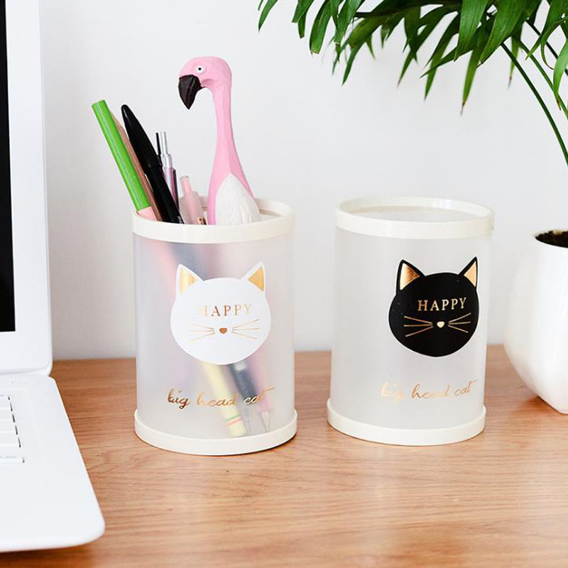 1 Pcs Cute Stationery PP Animal Cat Star Transparent Frosted Round Pen Holder Students Supplies Pencil Holders Gifts