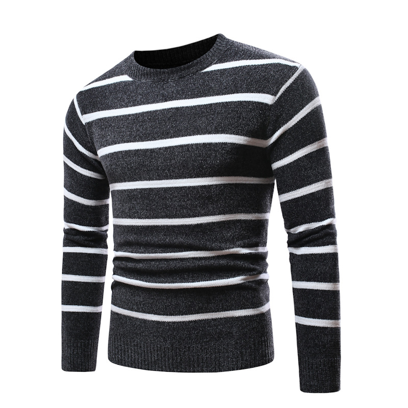 Harajuku Autumn Winter Men Stripe Long Sleeve Round Neck Sweater Casual Knitted Top Mens Sweaters Pullovers Pullover Male Tops