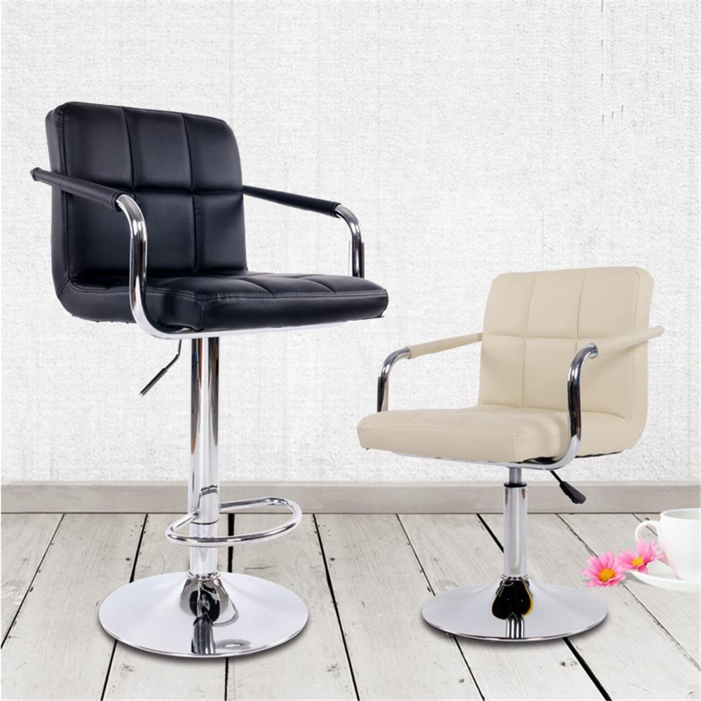 2 шт. барные стулья Синтетическая кожа Подушка поворотный стул регулируемая высота табурет с подставкой для ног барный стул без рукавов