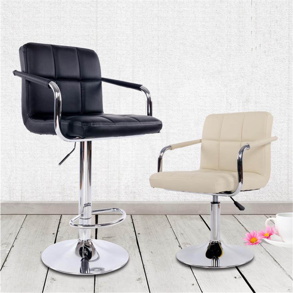2pc Bar Stools Synthetic Leather Cushion Swivel Chair Height Adjustable Tabouret with Footrest Barst