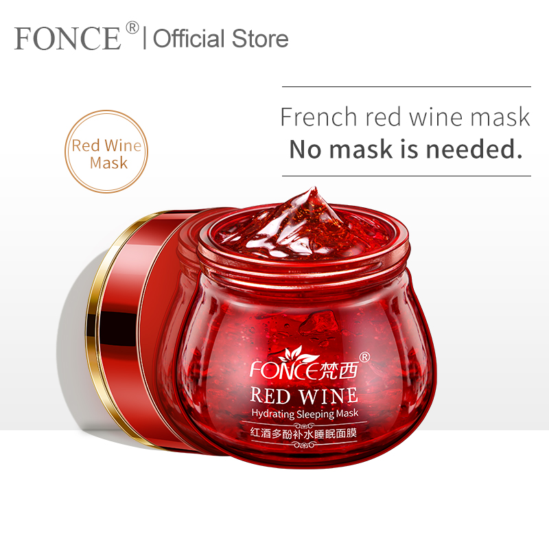 Korean Red Wine Essence Facial Mask 100g Whitening Cream Moisturizing Night Cream Anti Aging Brighten Face Sleeping Mask
