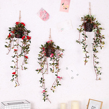 artificial flower rose vine silk DIY hanging fake rattan for wall decoration farmhouse home wedding layout H0121