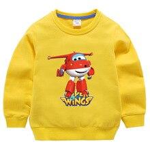 1-10Y Boys Sweatshirts Clothes Super Wings Costume Kids Autumn Sweatshirts Tops Girls Tshirt Kids Teen Toddler Baby Boys Spring