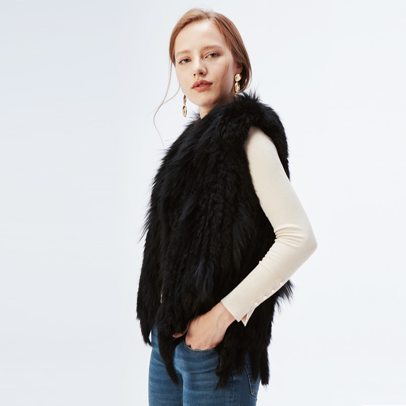 Natural Rabbit Fur Vest With Raccoon Fur Collar Party Waistcoat jackets knitted Gilets women wool vest