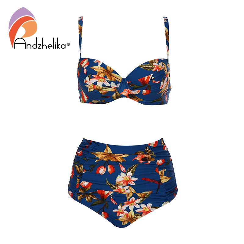 Andzhelika Floral Print High-Waisted Bikini Sets Sexy Push Up Swimsuit Two Pieces Swimwear Women 2020 Beach Bathing Suits