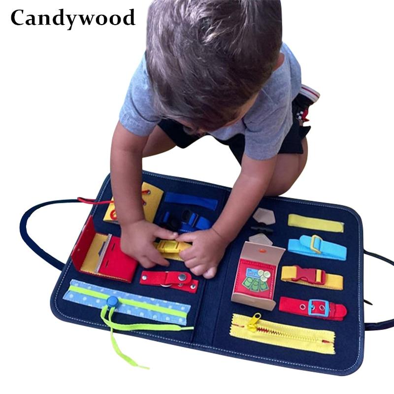 Montessori brinquedos ocupado placa cedo brinquedos educativos fino treinamento do motor auto-cuidado capacidade crianças jogo pré-escolar crianças brinquedo sensorial