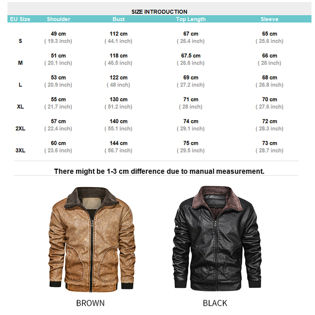 Winter Mens PU Jacket Thick Warm Men's Motorcycle Jacket New Fashion Windproof Leather Coat Male Size 3XL 6