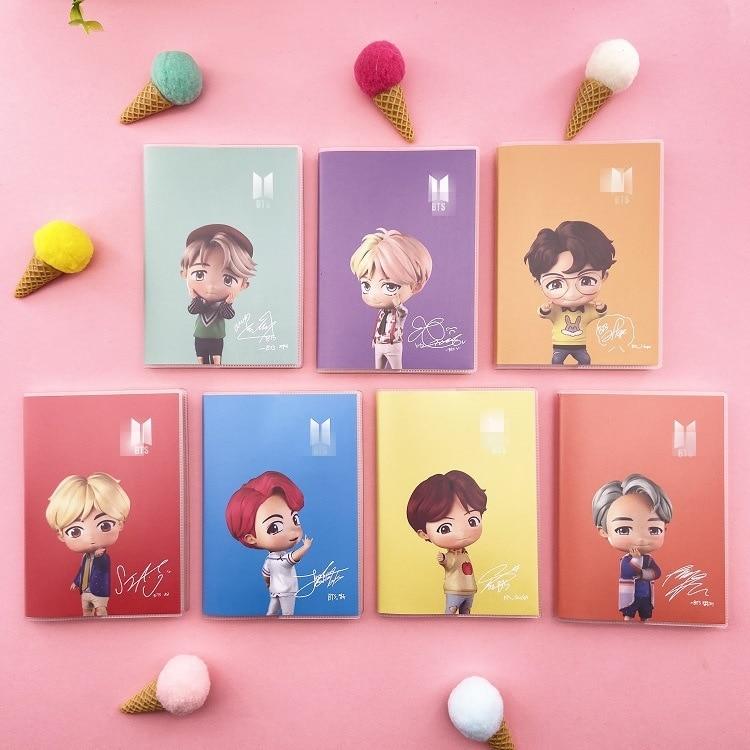 7 Pcs/lot KPOP JUNGKOOK SUGA JIN RM JHOPE V JIMIN Lovely Cartoon Rubber Notebook Diary Pocketbook Toy Gift