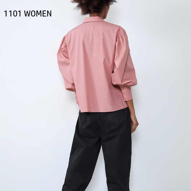 ZA 2020 אביב חדש נשים ורוד פרע את מלא שרוול חולצה מזדמן נקבה בציר בגדי נשים חולצות