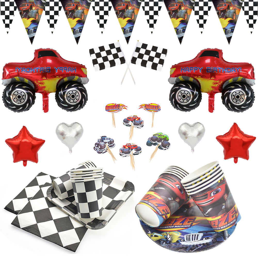 Jongen Racing Auto Verjaardagsfeestje Blaze Monster Machines Thema Wegwerp Servies Cup Plaat Party Ballonnen Decor Supplies