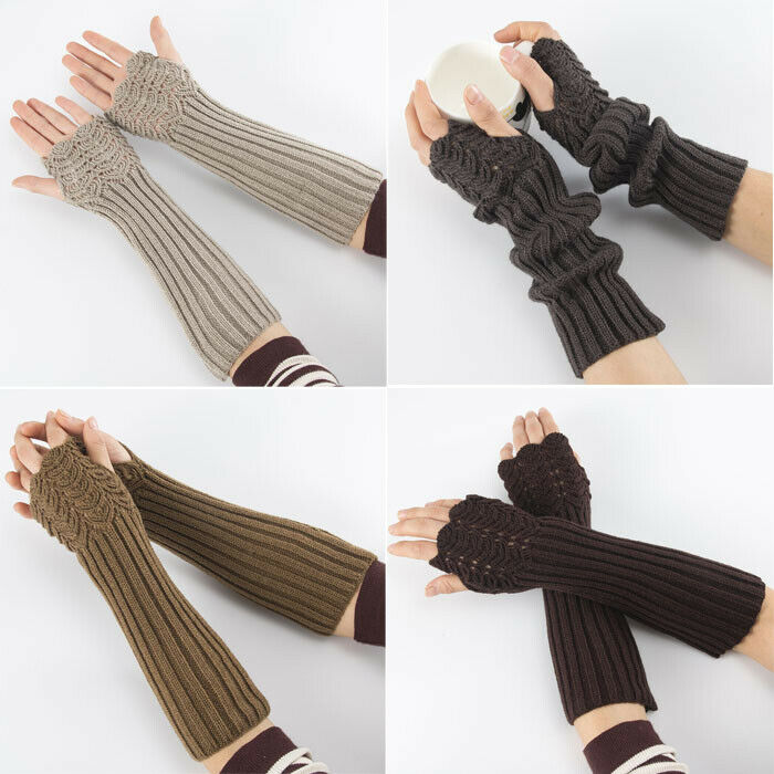 Women Fingerless Long Gloves Thumbhole Knit Arm Warmer Sleeve Elbow Length