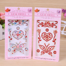 1 sheet Acrylic Stickers Colorful Rhinestones Love Butterfly Flower Sticker Bags Garment Phone Nails Decor Diy Jewelry