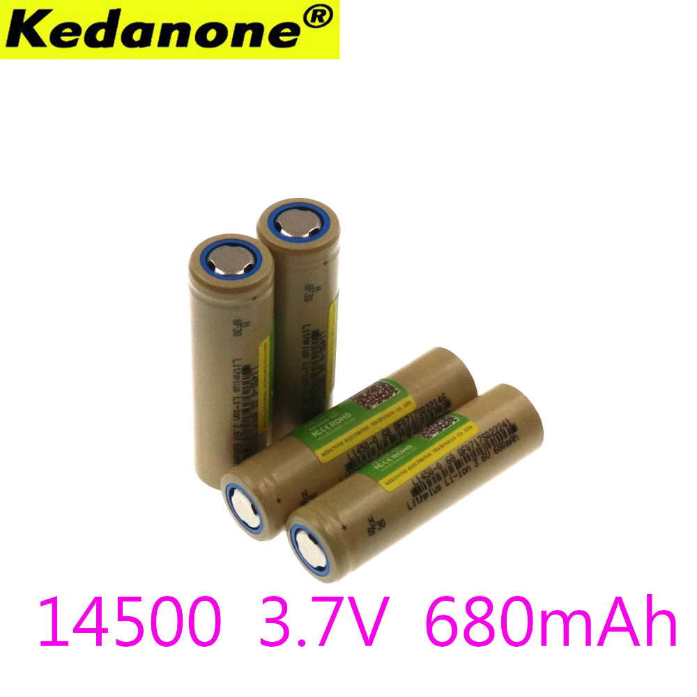 Flat Top Kedanone <font><b>14500</b></font> BATTERY US14500 <font><b>14500</b></font> 680 mAh 3.7 v rechargeable <font><b>li</b></font> <font><b>ion</b></font> Batteries led lampe de poche Batterie image