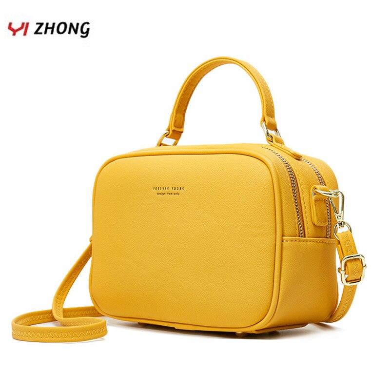 Yizhong simples bolsas de luxo e bolsas femininas designer moda couro zíper sacos de ombro crossbody tote bags para mulher