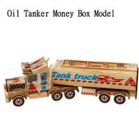 Wooden Tanker Car Model Statue Wooden Money Box Piggy Bank Decoration Children Toy Christmas Gift Desktop Decorations