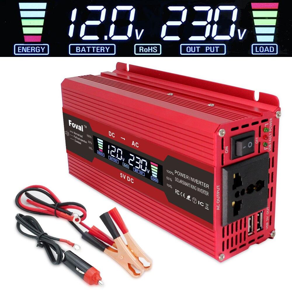 ЖК-дисплей напряжения инвертор постоянного тока 12 В к AC 220 В 230 в 240 В 1500 Вт/2000 Вт/2600 Вт Красный адаптер зарядного устройства конвертер универс...