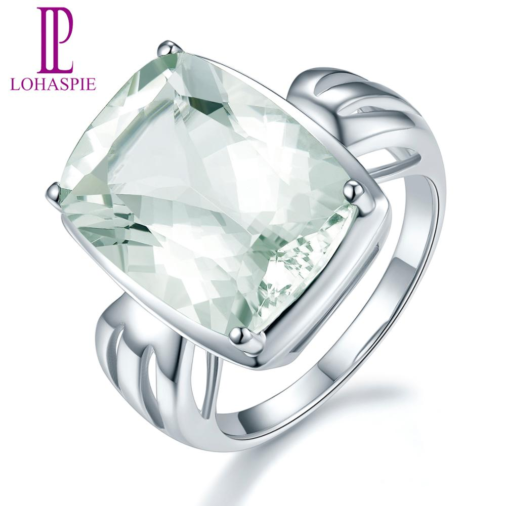 Gemstone Jewelry Bowknot-Ring Gift Green Amethyst Sterling-Silver Natural Fine S925 Women