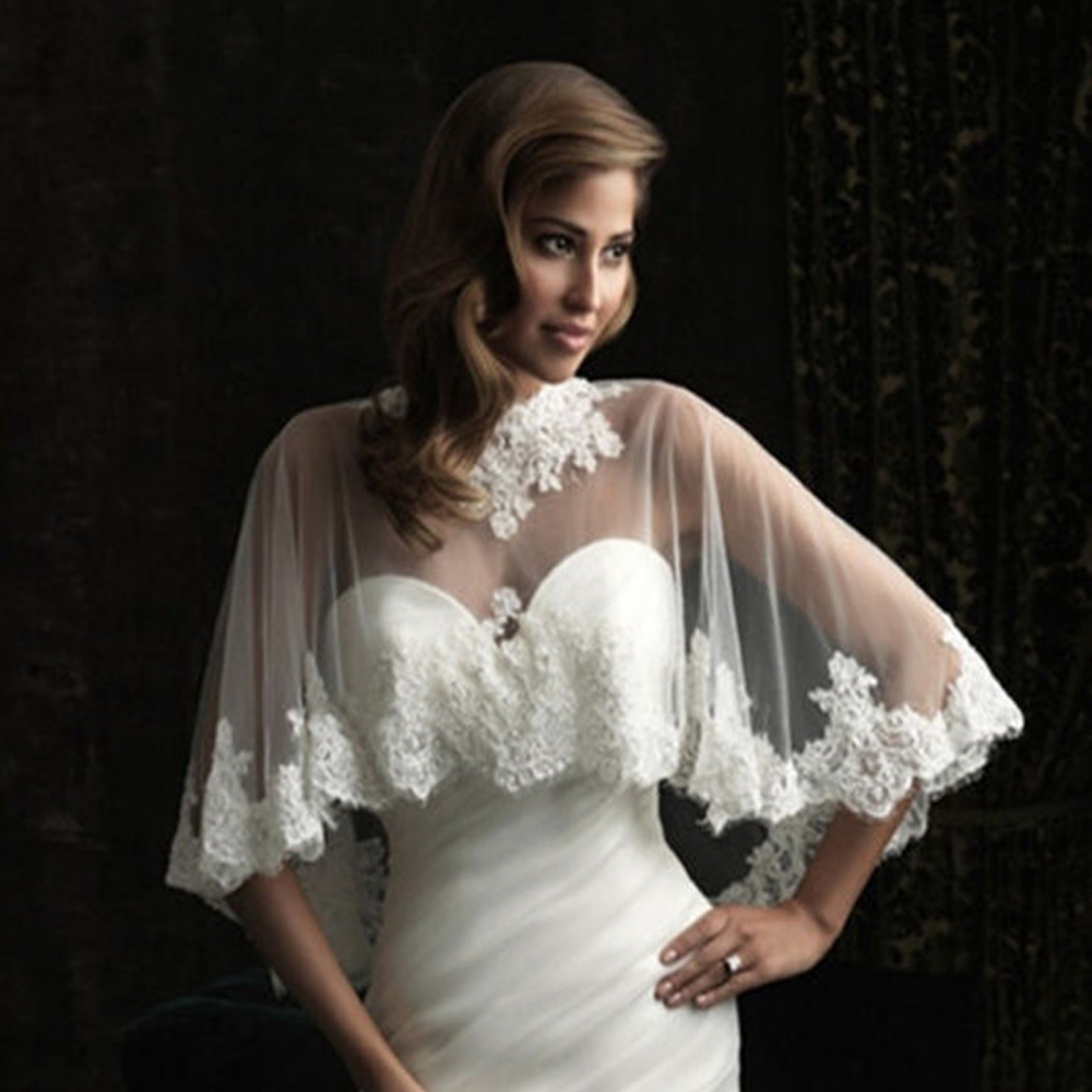 Lace Edge Wedding Shawl Wrap In BOLERO Bridal Wedding Jacket Appliques Bride Cape