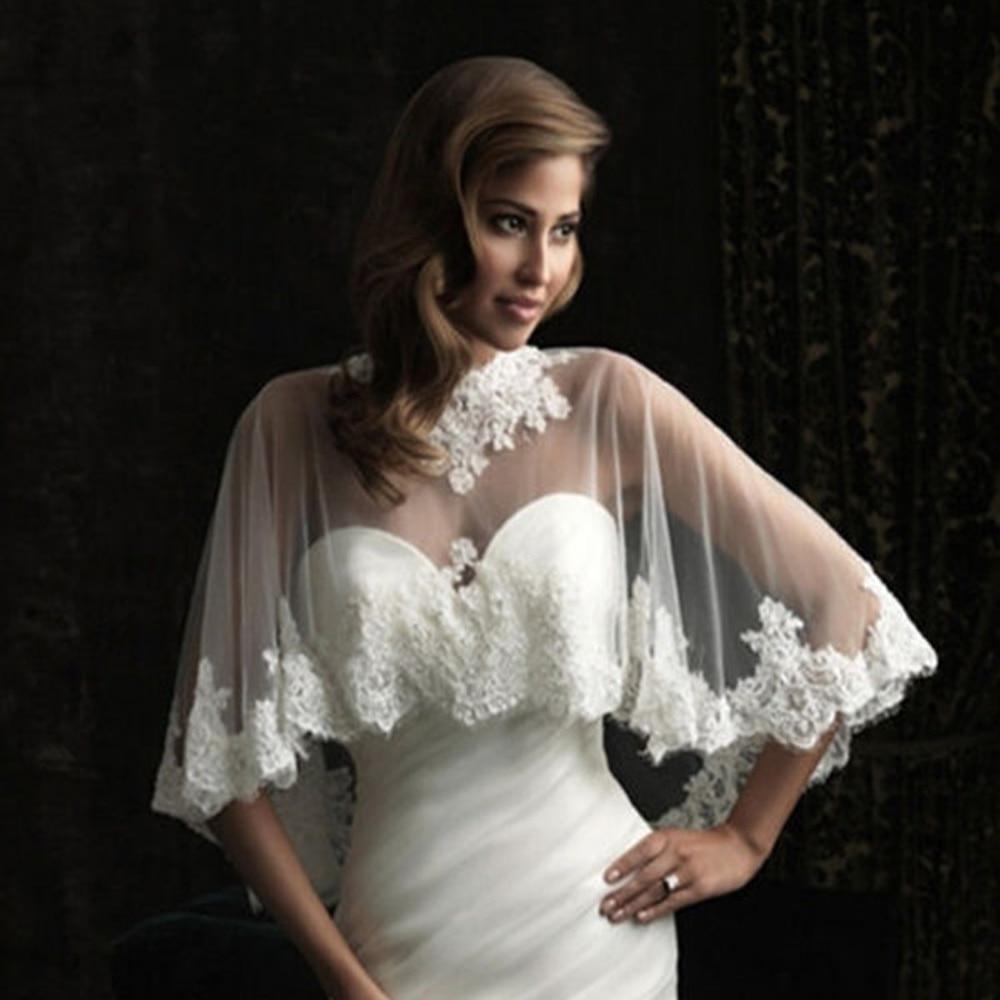 Lace Edge Wedding Shawl wrap in BOLERO Bridal Wedding jacket Appliques Bride Cape