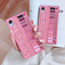 Luxury Fashion Square Naked Mesh Red Makeup eye Shadow Box Case For iPhone 7 6 8 Plus X XS MAX XR black Soft Silicone Cover