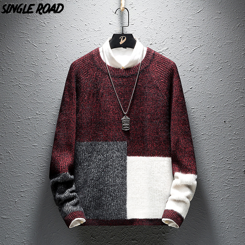 SingleRoad Thick Sweater Men 2019 Winter Wool Clothes Knitted Pullovers Cashmere Sweaters Male Loose Fashion Colorblock Jumper