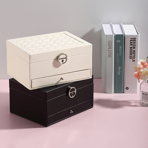 Image 5 - Grande boîte à bijoux en cuir PU multicouche, casier organisateur pour colliers, bagues, boucles doreilles, boîtes de rangement pour bijoux, 2020