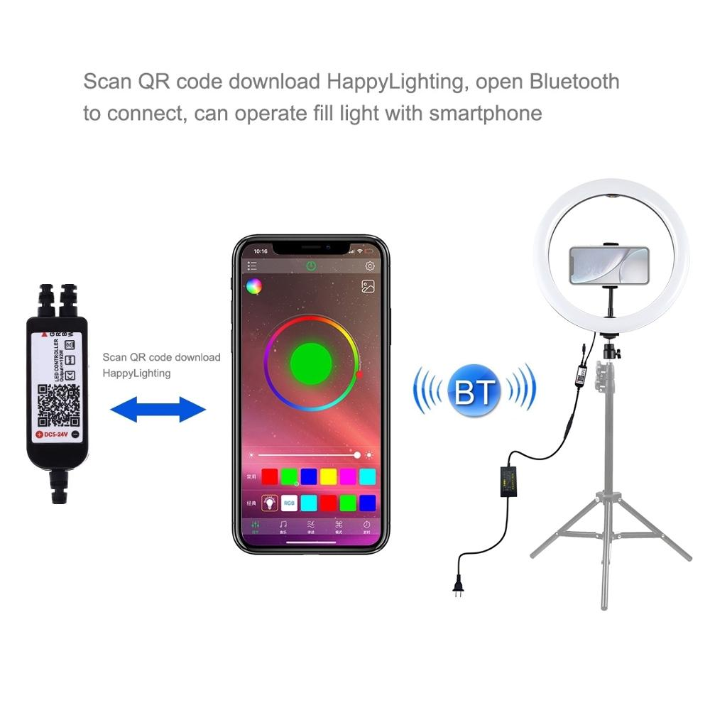 10 inch /& 10 Brightness Levels RGB Selfie Ring Light with Adjustable Tripod Stand /& Dual Phone Brackets Horizontal Holder /& Remote Control for Live Stream YouTube Video PULUZ LED RGB Ring Light Kit