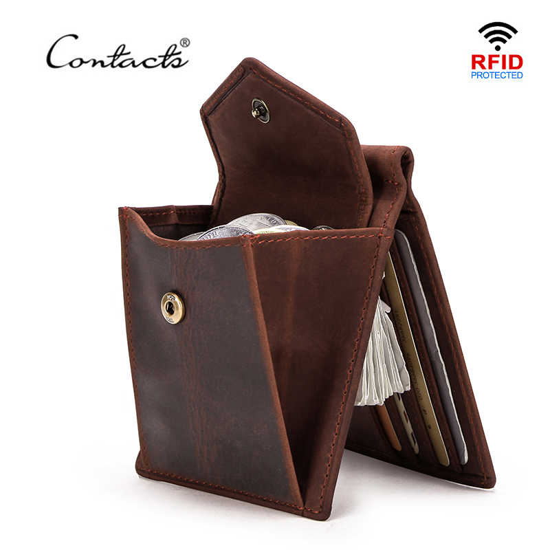 CONTACT'S Short Men Money Clip Oil Nubuck Cow Leather Wallets for Men Retro Money Case with Credit Card Slot Small Coin Pocket