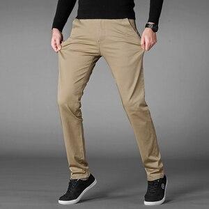 Image 3 - סתיו מזדמן מכנסיים גברים 2020 עסקים למתוח כותנה ישר Fit מכנסיים זכר לבוש הרשמי מכנסיים שחור חאקי בתוספת גודל 42 44 46