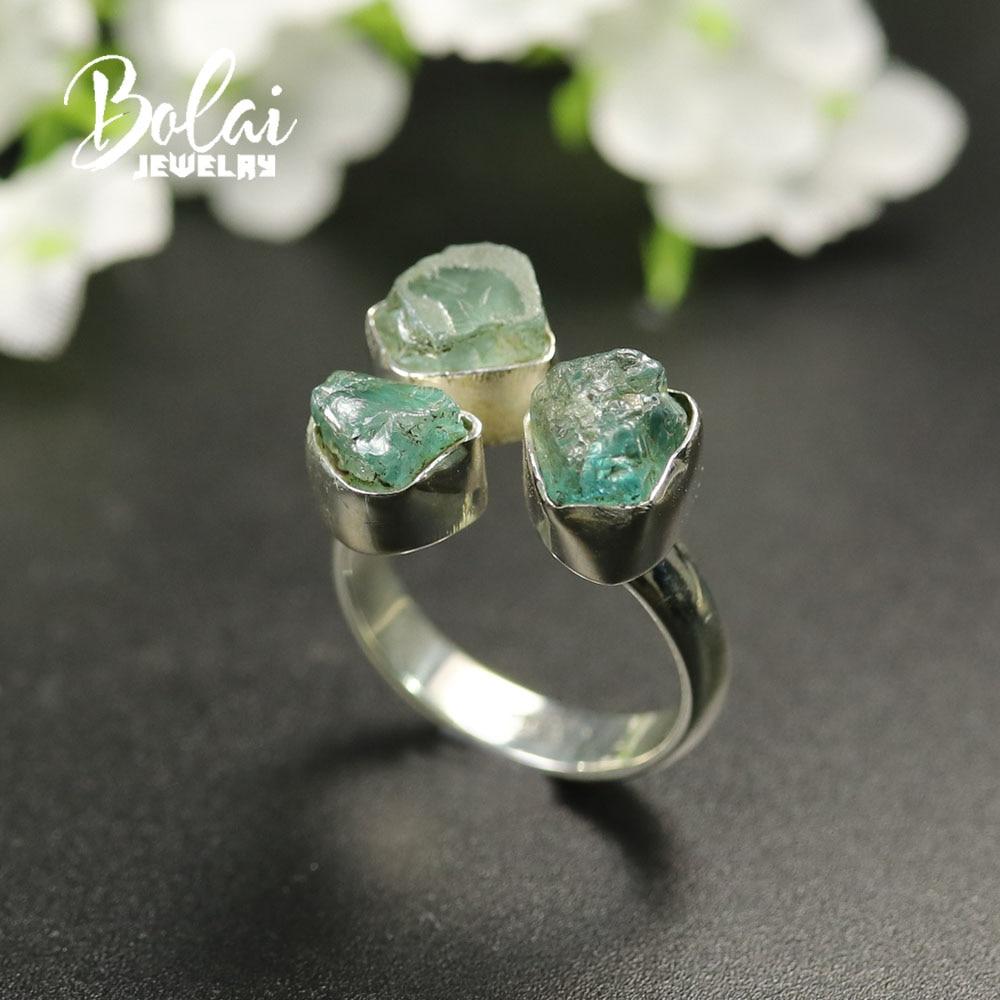 Handmade gemstone Rough Ring 925 sterling silver fine jewelry natural aquamarine tourmaline amethyst Ring unique design bolai