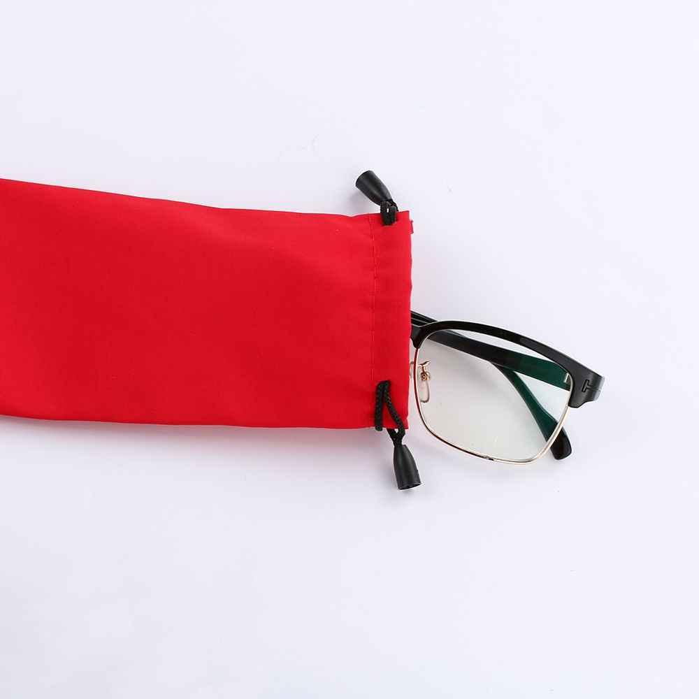 1PC מוצק צבע גברים נשים משקפי שמש משקפיים תיק רשת משובץ בד משקפי שמש תיק פאוץ אופנה לשאת תיק אביזרי 2019 חם
