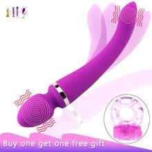 Brinquedo do sexo para a mulher g ponto massageador silicone gel vibrador cabeça dupla vibrador de carregamento usb vibrador sexo feminino presente produtos jogo
