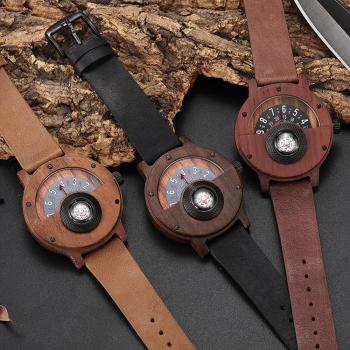 Creative WOOD Watch Men Turntable Compass Dial Real Walnut Ebony Bamboo Wooden Watches Male Brown Black WOODEN Clock Wrist Reloj