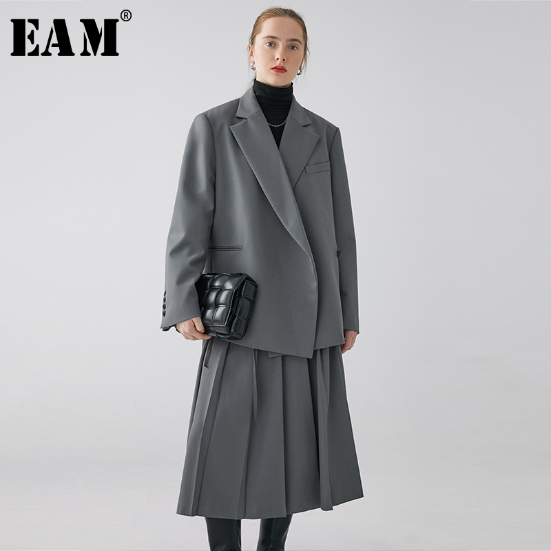[EAM]  Women Gray Temperament Bandage Big Size Blazer New Lapel Long Sleeve Loose Fit  Jacket Fashion Spring Autumn 2020 1R099