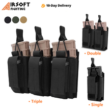 Tactical Molle Magazine Pouch Single/Double/Triple Rifle Pistol Mag Pouch 2-Layer Cartridge Holder for M4 M14 M16 AK AR