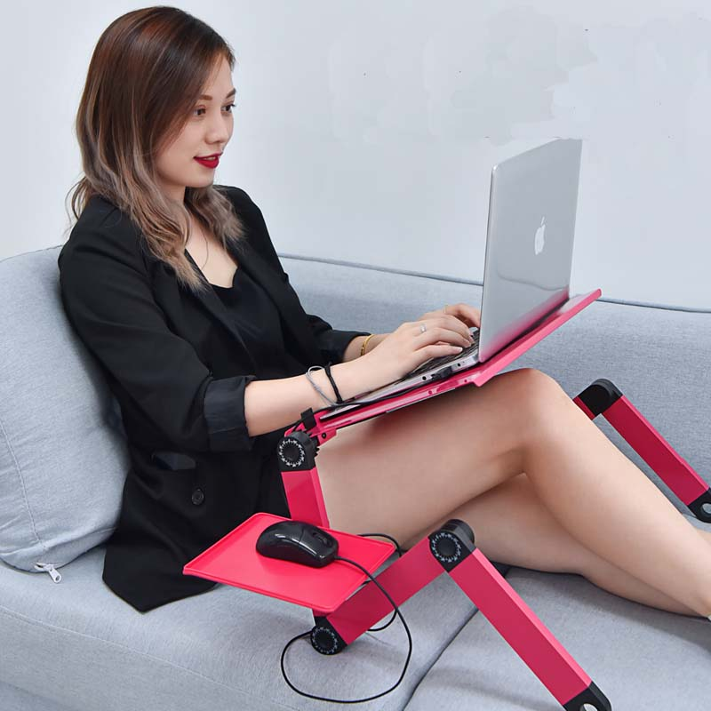 Laptop Desk Portable Adjustable Aluminum Ergonomic TV Bed Laptop Tray PC Table Stand Notebook Table Desk Stand With Mouse Pad